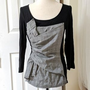 ANTHROPOLOGIE |one September black and grey top